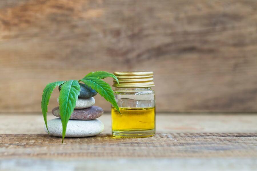 A small jar of hemp oil